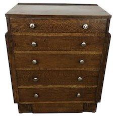 Art Deco Quartersawn Oak 5 Graduated Drawer Dresser