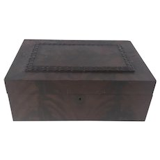 19th C Antique Flame Mahogany Valuables Trinket Box