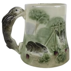 French Majolica Rabbit Mug