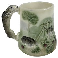French Majolica Rabbit Mug