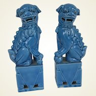"Pair of 8.5"" Tall Figures of Chinese Export Turquoise Guardian Lions or Foo Dogs"