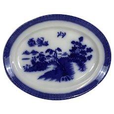 Antique English Wood & son Flow Blue Willow Platter