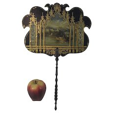 19th C Victorian Hand Painted Lacquered Fan With European Landscape