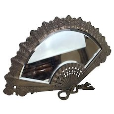 Antique French Bronze Fan Shaped Beveled Table Top Mirror