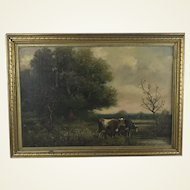 George A. Hays (1854-1945 New Hampshire) Pastoral Landscape W Cattle Oil on Canvas