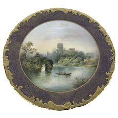 Fine Wedgwood Singed Hand Painted Warwick Castle Cabinet Plate
