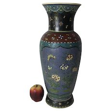 Very Large Scarce Meiji Period Japanese Silver Wired Totai Cloisonne Satsuma Pottery Vase