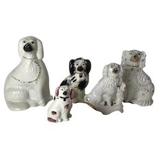 Group of 5 Antique English Staffordshire Dog Figurine