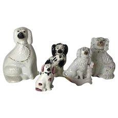 Group of 5 Antique English Staffordshire Dog Figurine