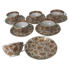 Rare Set of 6 Chinese 19th / 18th Century Iron Red Tea Cups and Saucers