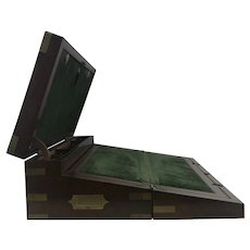 Nice Large 19th Century Mahogany Brass Bound Captain Lap Desk Box