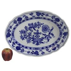 "Large Meissen England Flow Blue Deep Serving Platter 18.25"""