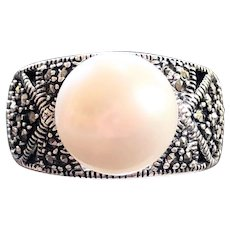 Vintage Sterling Silver Marcasite 10.5MM Pearl Domed Ring
