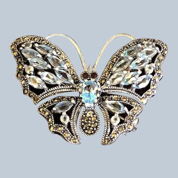 Sterling Silver Marcasite 3ct Blue Topaz Butterfly Pin Brooch
