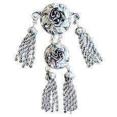 Vintage Victorian Repousse Hobe Rose Tassel Pin Chandelier Sterling Silver Chatelaine Brooch