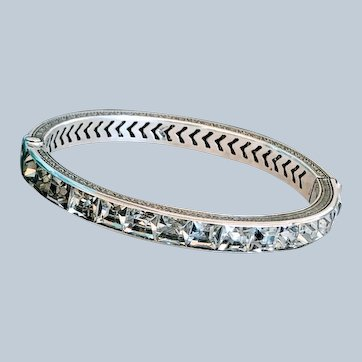 Exquisite Antique Art Deco Silver Paste Eternity Stone Channel Bangle Bracelet
