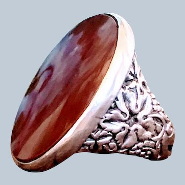 Arts & Crafts Sterling Silver Grape Leaf Motif Carnelian Agate Bacchus Mens Ring
