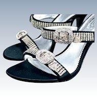 Vintage Pelle Moda Sexy Black Crystal Strappy Sandal Shoe formal prom