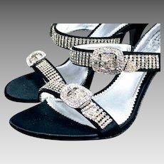 Vintage Pelle Moda Sexy Black Crystal Strappy Sandal Shoe formal prom