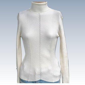 Vintage 1980s Peck & Peck Ivory Knit Turtleneck Sweater PM Medium