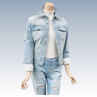 Vintage 1980s Anev Denim Jacket Jeans Rhinestone Madonna Suit
