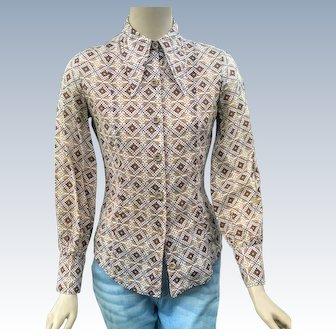 1970's Vintage Shirt Bobbie Brooks Abstract Blouse