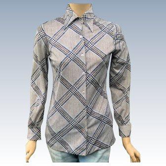 Vintage 1970's Disco Funky Geometric Shirt Polyester Blouse