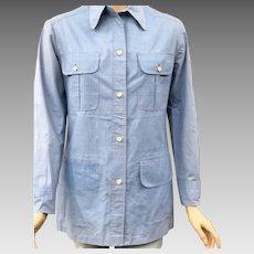 Vintage 1940s Andre Ledoux 4 Pocket Blue Denim Shirt Rockabilly Bowling