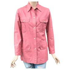 Vintage 1940s Andre Ledoux 4 Pocket Red Denim Shirt Rockabilly Bowling