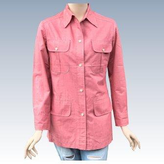 Vintage 1940s Andre Ledoux 4 Pocket Red Denim Shirt Rockabilly Bowling