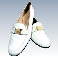 Vintage 1960s Salvatore Ferragamo White Leather Limited Edition Gold Buckle Driving Shoe Loafer