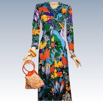 Vintage 1970s Psychedelic Floral Print Mod Maxi Luau Dress Bolero Jacket The Company