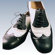 Vintage 1960s Salvatore Ferragamo Bolgheri Spectator Oxford Saddle Colorblock Shoes