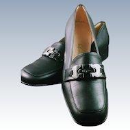 SALE! Vintage 1970s Salvatore Ferragamo Signature Buckle Black Loafer Shoes NOS