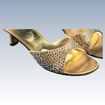 Vintage 1970s Stuart Weitzman Gold Lame Crystal Disco Peep Toe Mule Sandal Shoes Kitten Heel