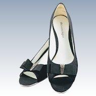 Vintage Etienne Aigner Black Linen Espadrille Wedge Robe Shoes w/ Bow