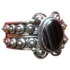 Vintage Silver Los Ballesteros Taxco Mexico Tigers Eye Scroll Bracelet