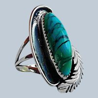 Vintage Native American Indian Turquoise Feather Ring