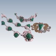 Early Mexico Silver Green Onyx Tribal Women Warrior Mayan Mask Demi Parure Set