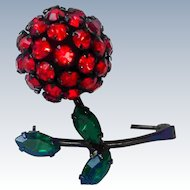 Vintage Rhinestone Cherry Signed Warner 3D Pin