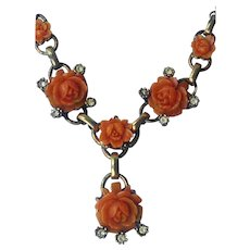 Vintage Carved Coral Celluloid Flower Rhinestone Necklace