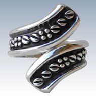 Large Mexico Coffee Bean Clamper Bracelet Signed Taxco Repousse Sterling Silver TA-164 Hinged Cuff