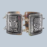 Early Wide  900 Silver Columbian Panel Bracelet Storyteller Aztec Mayan Gods