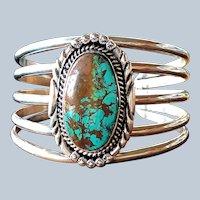Vintage Navajo Turquoise Mike Thomas Jr Cuff Bracelet