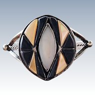Vintage Native American Stone Inlay Modernist Cuff Bracelet MT