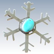 Vintage Navajo Sterling Silver Turquoise Snowflake Pendant