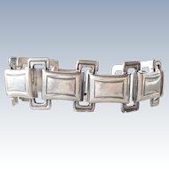 Vintage 1953 Swedish Modernist Mens Link Sterling Silver Bracelet
