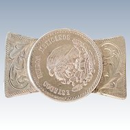 Early Pre Eagle 1940s Mexico Coin Silver Money Clip