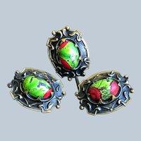 Antique Art Nouveau Stone Hat Stick Pin Cufflink Set