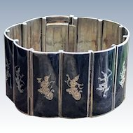 Vintage Sterling Silver Niello Enamel Siam Goddess Panel Bracelet